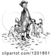 Clipart Of A Vintage Black And White Boy With Dogs Royalty Free Vector Illustration