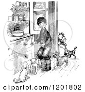 Clipart Of Vintage Black And White Boys With Dogs By A Pie On A Cabinet Royalty Free Vector Illustration
