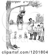Clipart Of A Vintage Black And White Group Of Children And Dogs Playing At A Tree Royalty Free Vector Illustration