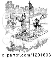 Clipart Of Vintage Black And White Boys And Dogs On A Raft Royalty Free Vector Illustration