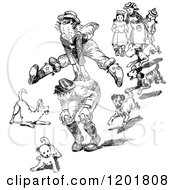 Clipart Of Vintage Black And White Dogs Around Boys Playing Leap Frog Royalty Free Vector Illustration