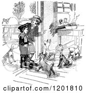 Clipart Of Vintage Black And White Boys At A Door With Dogs Royalty Free Vector Illustration
