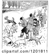 Clipart Of Vintage Black And White Children Playing With Dogs Outside Royalty Free Vector Illustration