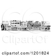 Clipart Of A Vintage Black And White Storefront Border Royalty Free Vector Illustration