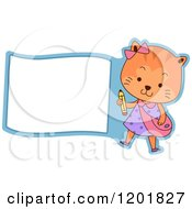 Clipart Of A Student Cat Holding A Pencil By A Sign Or Label Royalty Free Vector Illustration