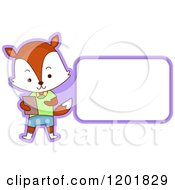Clipart Of A Student Fox By A Sign Or Label Royalty Free Vector Illustration