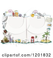 Clipart Of A Blank Open Travel Book With Buildings And Items Royalty Free Vector Illustration