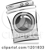 Clipart Of A Grayscale Washing Machine Royalty Free Vector Illustration