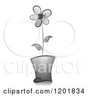 Clipart Of A Grayscale Potted Flower Royalty Free Vector Illustration