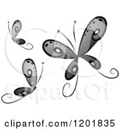 Clipart Of Grayscale Butterflies Royalty Free Vector Illustration by BNP Design Studio