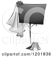 Clipart Of A Grayscale Wedding Sign Royalty Free Vector Illustration