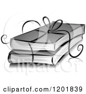 Clipart Of A Grayscale Ribbon Tied Around Books Royalty Free Vector Illustration