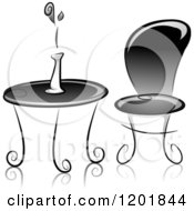 Clipart Of A Grayscale Table And Chair With A Flower Vase Royalty Free Vector Illustration by BNP Design Studio