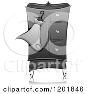 Clipart Of A Grayscale Dress On A Wardrobe Royalty Free Vector Illustration
