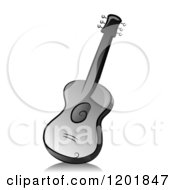 Clipart Of A Grayscale Guitar Royalty Free Vector Illustration by BNP Design Studio