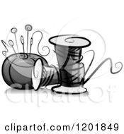 Clipart Of A Grayscale Pin Cushing And Sewing Thread Royalty Free Vector Illustration