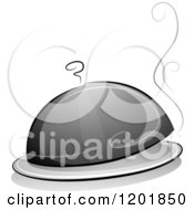 Clipart Of A Grayscale Cloche Platter With Steam Royalty Free Vector Illustration