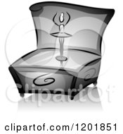 Clipart Of A Grayscale Dancing Ballerina Music Box Royalty Free Vector Illustration