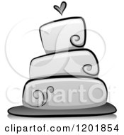 Clipart Of A Grayscale Wedding Cake Royalty Free Vector Illustration