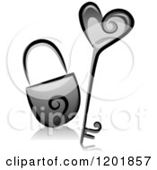 Clipart Of A Grayscale Heart Key And Padlock Royalty Free Vector Illustration
