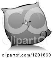 Clipart Of A Grayscale Throw Pillow Royalty Free Vector Illustration