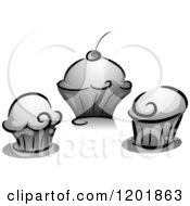 Clipart Of Grayscale Cupcakes Royalty Free Vector Illustration