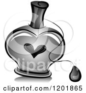 Clipart Of A Grayscale Heart Perfume Bottle Royalty Free Vector Illustration