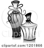 Clipart Of Grayscale Perfume Bottles Royalty Free Vector Illustration