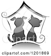 Clipart Of A Grayscale Cat And Dog Under A House Royalty Free Vector Illustration