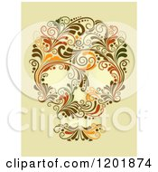 Clipart Of A Floral Skull Made Of Vines On Aged Yellow Royalty Free Vector Illustration by BNP Design Studio