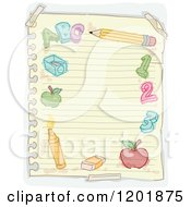 Clipart Of A Page Of Ruled Paper With Doodles Royalty Free Vector Illustration by BNP Design Studio