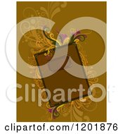 Clipart Of A Brown Book With Ornate Vines Royalty Free Vector Illustration