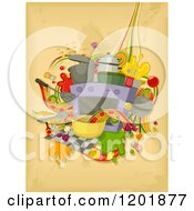 Clipart Of Kitchen Appliances And Tools Over Grunge Royalty Free Vector Illustration