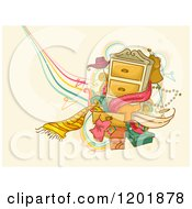 Clipart Of A Dresser With Accessories And Clothes Over Tan Grunge Royalty Free Vector Illustration