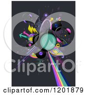 Clipart Of Headphoens And Music Albums With Arrows And Sounds Waves Royalty Free Vector Illustration