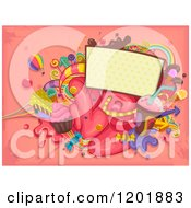 Sign With Colorful Sweets And Candy On Pink Grunge