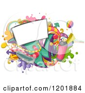 Clipart Of A Billboard Sign And Urban Items Royalty Free Vector Illustration by BNP Design Studio