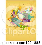 Clipart Of A Laptop And Blog Interest Items On Yellow Grunge Royalty Free Vector Illustration by BNP Design Studio