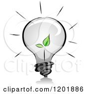 Clipart Of A Grayscale Lightbulb With A Green Seedling Plant Royalty Free Vector Illustration