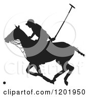 Clipart Of A Black And White Silhouetted Horseback Polo Player Royalty Free Vector Illustration by Maria Bell #COLLC1201950-0034