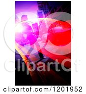 Clipart Of A Woman Crossing An Urban Street With Flares Royalty Free Illustration