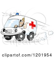 Cartoon Of A Paramedics Ambulance Driver Holding A Thumb Up Out The Window Royalty Free Vector Clipart by Holger Bogen