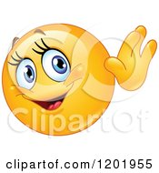 Cartoon Of A Friendly Female Emoticon Smiley Waving Royalty Free Vector Clipart