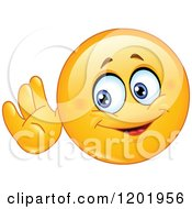 Cartoon Of A Yellow Emoticon Smiley Cupping His Ear And Listening Royalty Free Vector Clipart