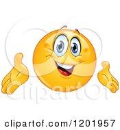 Cartoon Of A Happy Emoticon Smiley Presenting Royalty Free Vector Clipart
