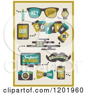 Clipart Of Retro Hipster Coffee Designs Royalty Free Vector Illustration by elena