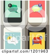Clipart Of Four Cell Phone Screens With Message Icons Royalty Free Vector Illustration