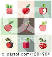 Clipart Of Different Styled Red Apple Squares Royalty Free Vector Illustration