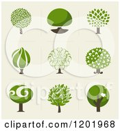 Clipart Of Different Styled Green Tree Squares Royalty Free Vector Illustration by elena