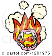 Cartoon Of A Vampire Mouth Flaming Royalty Free Vector Illustration